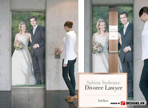 Quảng cáo ấn tượng của một vị luật sư chuyên giải quyết các vụ ly hôn.