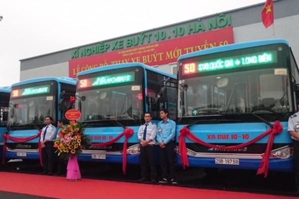 Tổng công ty vận tải Hà Nội thay mới tuyến bus 50 Long Biên - SVĐ Quốc Gia và vận hành chính thức Deport Mai Dịch - XN xe bus 10-10 Hà Nội